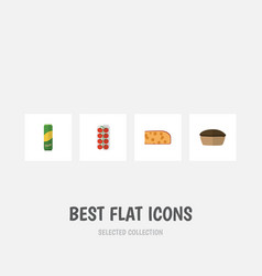 Flat icon food set of spaghetti tart tomato and vector