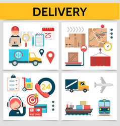 flat logistic square concept vector image