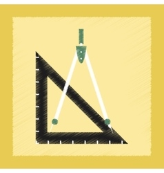 Flat shading style icon ruler compass vector