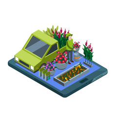 flowers and plants online isometric flowers shop vector image