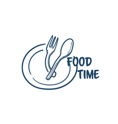 Food time plate with spoon fork prepare for eating vector