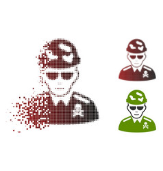 Fragmented dot halftone swat soldier icon with vector