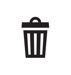 Garbage basket - black icon on white background vector