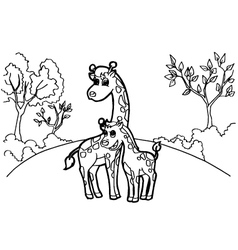 Giraffe cartoon coloring pages vector