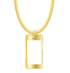 Gold Chain Jewelry whith Gold Mobile Phone vector