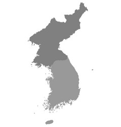 gray map of north korea and south korea vector image