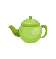 green ceramic teapot kitchenware vector image