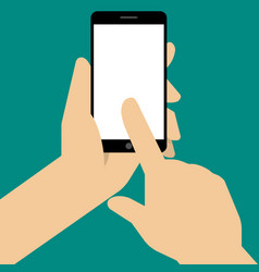 Hand holing black smartphone vector