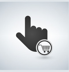 Hand pointer symbol and shopping cart concept vector