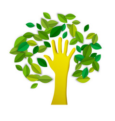 hand tree paper cut art for environment care vector image