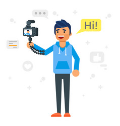 Handsome man records video blog vector