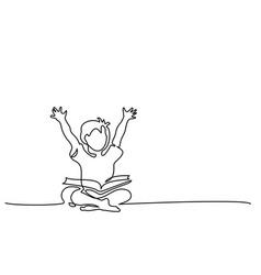 Happy boy reading open books sitting on floor vector