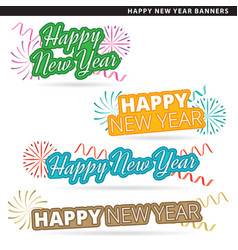 Happy new year banners vector