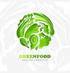 Healthy lifestyle logo round emblem raw food vector