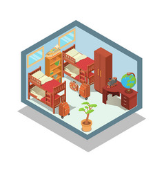 Hostel concept banner isometric style vector