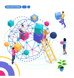 Isometric is the concept of business team success vector