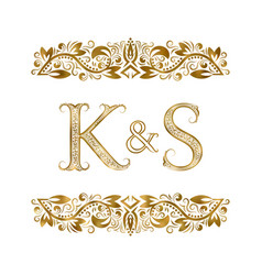 K and s vintage initials logo symbol letters vector