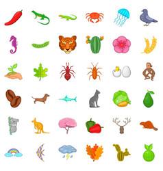 Kangaroo icons set cartoon style vector