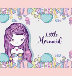 little mermaid art cartoon vector image