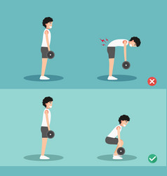 Male wrong and right deadlift posture vector