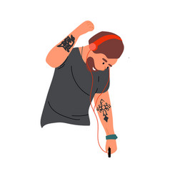 Man dancing and listen music simple cartoon male vector