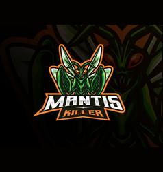 mantis mascot sport logo design vector image
