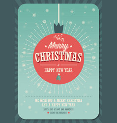 merry christmas card on a decorative christmas vector image