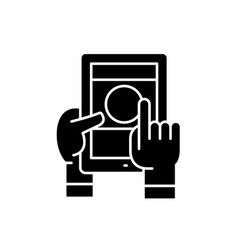 mobile learning black icon sign on vector image