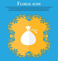 Money bag icon sign Floral flat design on a blue vector image