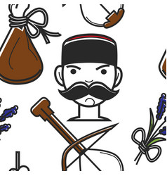 montenegrin man with mustache and national symbols vector image