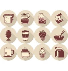 Morning menu flat brown icons vector image
