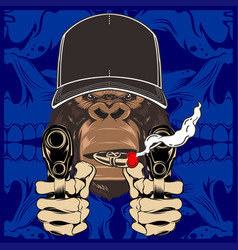 Muscular monkey holding rifle and gun with big vector