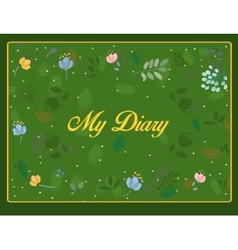 My diary inscription with floral background vector image