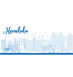 Outline Honolulu skyline with blue buildings vector image