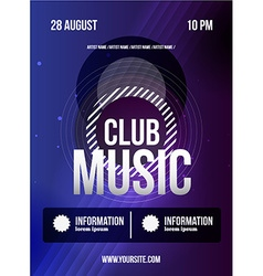 Party Flyer Club music flyer Dj lineup design vector image