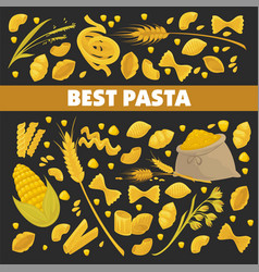 pasta poster for best italian cuisine food of vector image