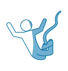 Pictogram man practice bungee jumping vector