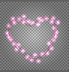 pink light bulbs in heart shaped frame on vector image