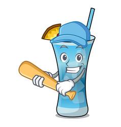 playing baseball blue hawaii character cartoon vector image