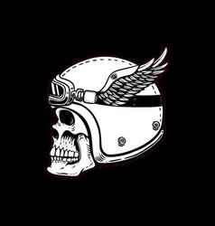 racer skull in winged helmet on black background vector image