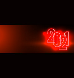 Red happy new year 2021 neon background vector