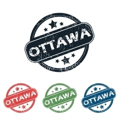Round Ottawa city stamp set vector
