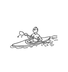 rowing athletes outlined cartoon handrawn sketch vector image