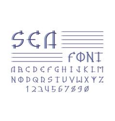 Sea font alphabet vector