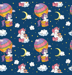 seamless pattern cute unicorns in sky navy vector image