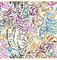 Seamless pattern paisley brown leaves background vector