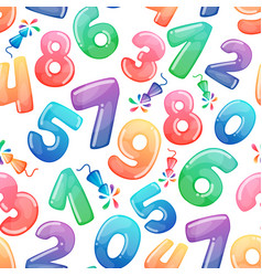 seamless pattern with cartoon numbers vector image