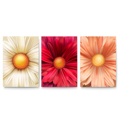 Set covers with bud flowers close-up trendy vector