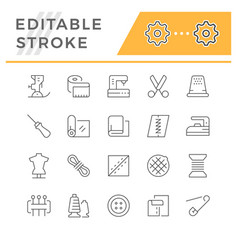 set line icons sewing vector image