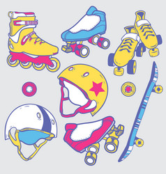 Set of roller skates skateboard helmets wheel vector